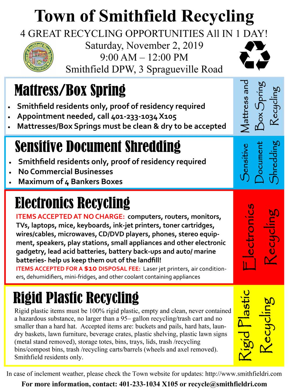 4 Great Recycling Opportunities All In 1 Day! Saturday, November 2, 2019