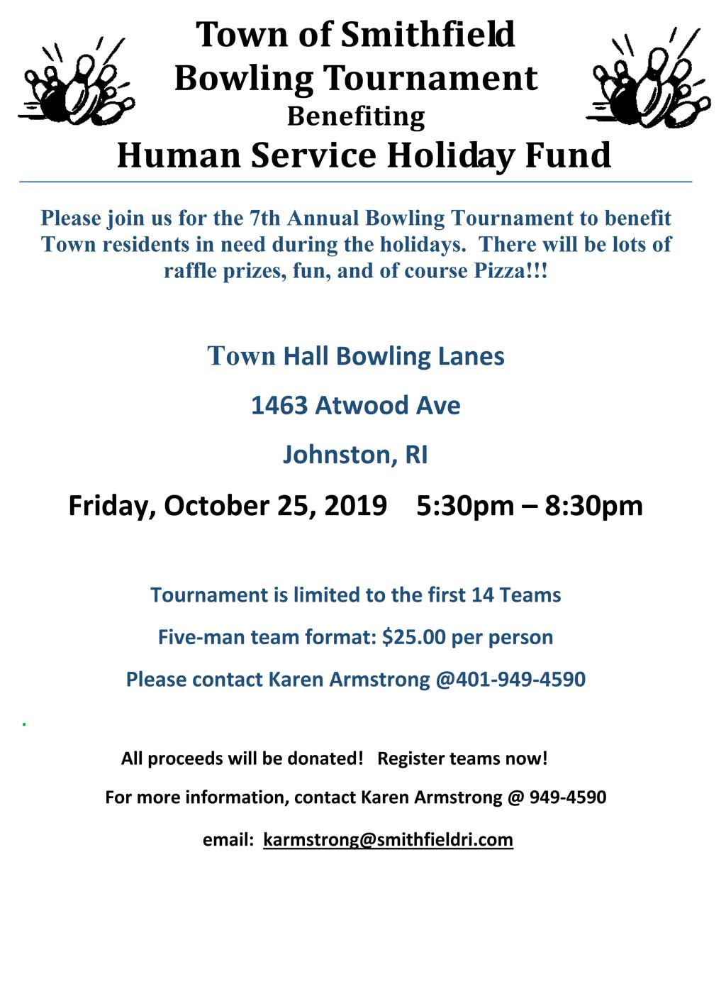 Town of Smithfield Bowling Tournament - Benefiting the Human Services Holiday Fund - Friday, October 25th