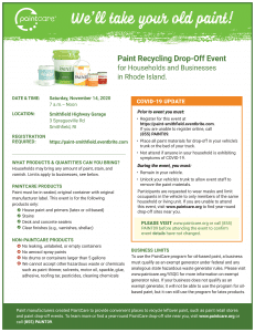 Paint Recycling Drop-Off Event - Saturday November 14