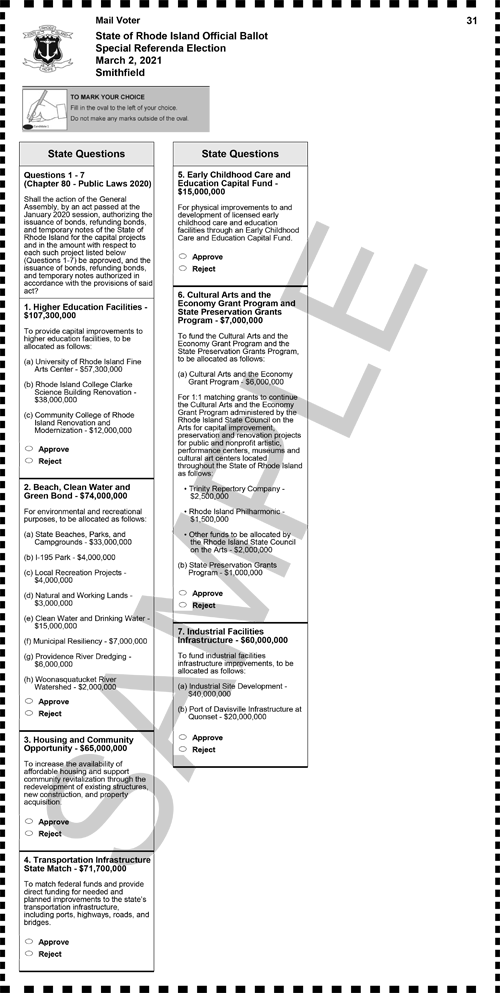 Sample Ballot for the Special Referenda Election on March 2, 2021