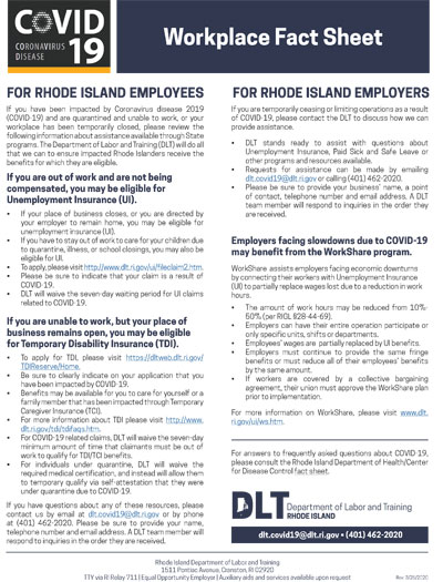 COVID-19 Workplace Fact Sheet
