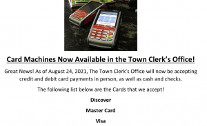 Credit-Debit Cards Now Accepted