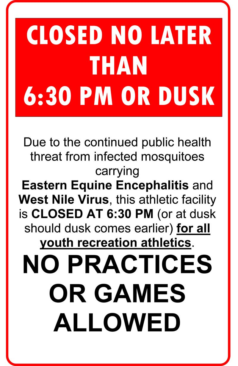 Mosquito-Borne Illness Prevention at Athletic Facilities sign