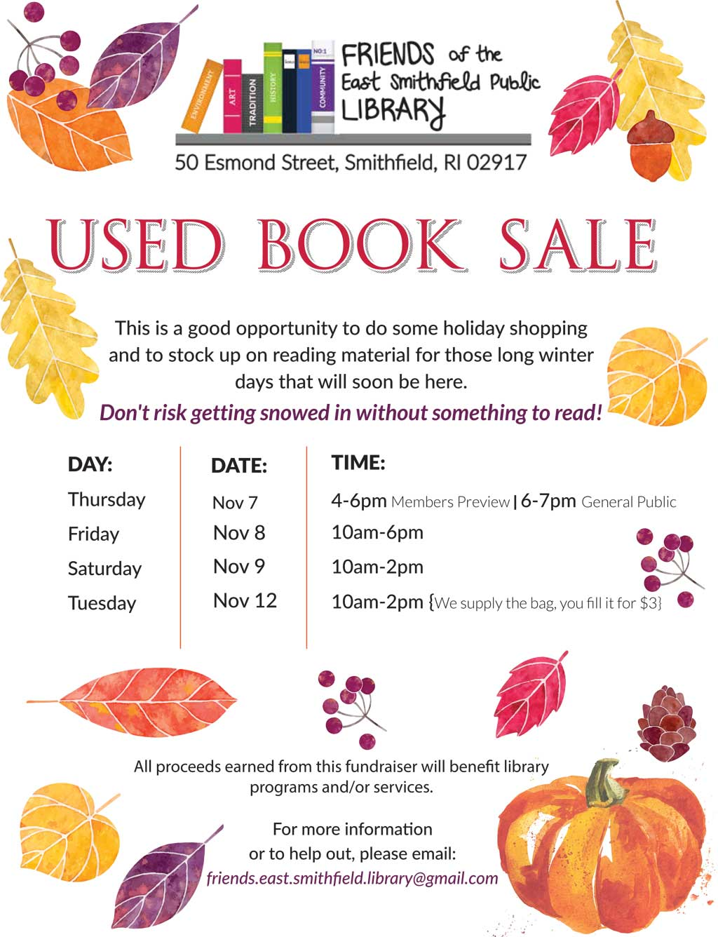East Smithfield Public Library Used Book Sale Dates