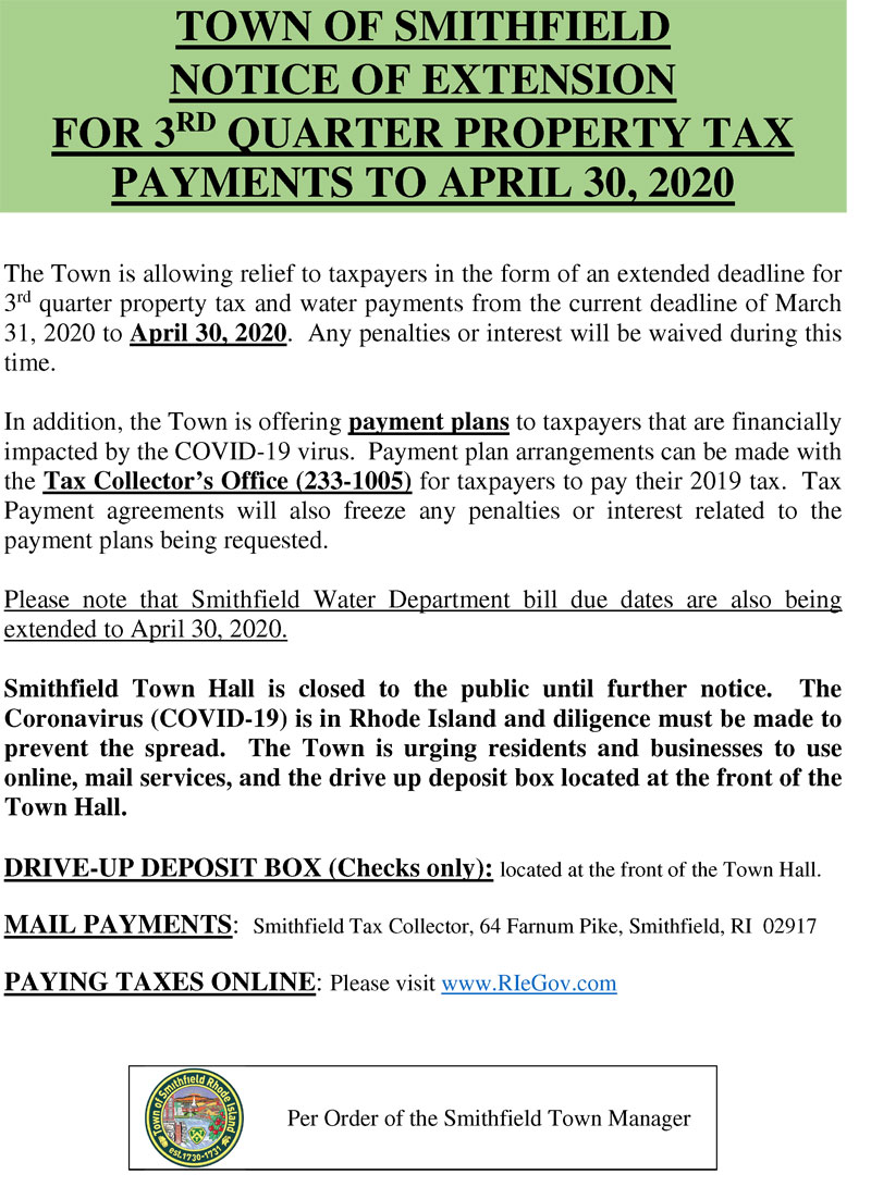 Notice of Extension For 3rd Quarter Property Tax Payments to April 30, 2020