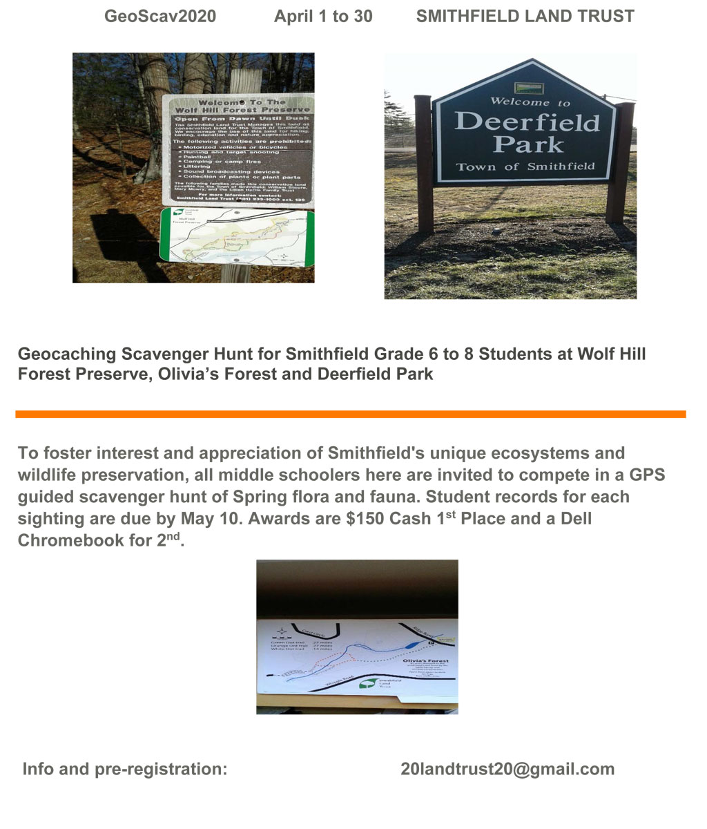Geocaching Scavenger Hunt for Smithfield Grade 6 to 8 Students April 1 to 30