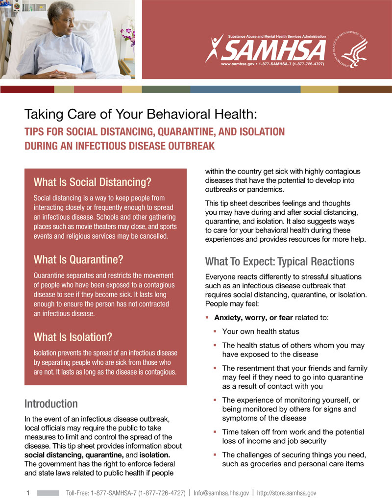Taking Care of Your Behavioral Health: Tips for Social Distancing, Quarantine, and Isolation During an Infectious Disease Outbreak
