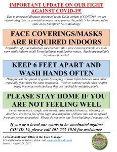 Face Coverings/Masks Are Required Indoors in all Town Buildings
