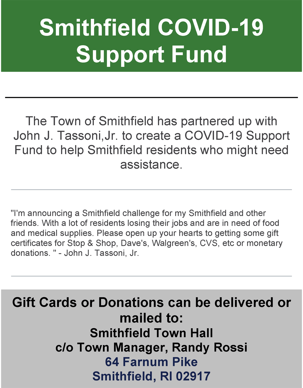 Smithfield COVID-19 Support Fund